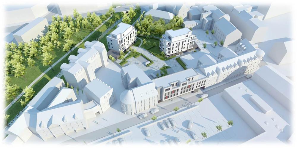 Kliawohnpark mit geplantem Neubau von 3 Gebäuden