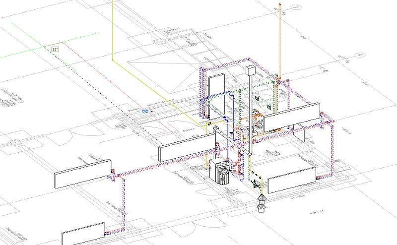 Ausschnitt 3D-Modell TGA Installationen